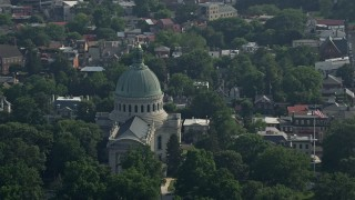 AX73_019 - 5K stock footage aerial video of The Chapel at the United States Naval Academy, Annapolis, Maryland