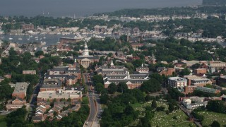 AX73_022 - 5K aerial stock footage video of the Maryland State House in Annapolis, Maryland