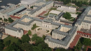 AX73_026 - 5K stock footage aerial video of Bancroft Hall and Tecumseh Court at US Naval Academy, Annapolis, Maryland
