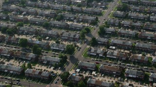 AX73_050 - 5K stock footage aerial video of row houses in Middle River, Maryland