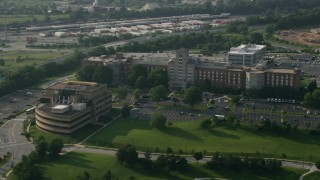 AX73_061 - 5K stock footage aerial video of Mason F. Lord Building at Johns Hopkins Bayview Medical Center in Baltimore, Maryland