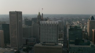 AX73_070 - 5K stock footage aerial video of Transamerica Tower, Bank of America Building, 100 East Pratt Street, Downtown Baltimore, Maryland