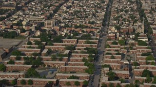 AX73_087 - 5K stock footage aerial video of public housing apartments and Gough Street in Baltimore, Maryland