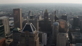 AX73_088 - 5K stock footage aerial video of Transamerica Tower, Bank of America Building, and top of Schaefer Tower, Downtown Baltimore, Maryland