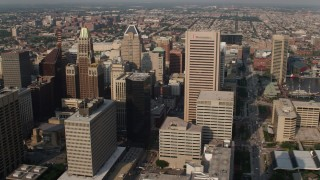 AX73_092 - 5K stock footage aerial video of skyscrapers in Downtown Baltimore, Maryland