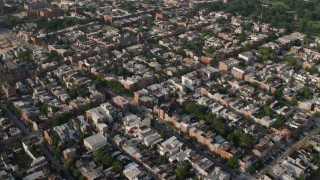 AX73_102 - 5K stock footage aerial video of town homes and apartment buildings in Baltimore, Maryland