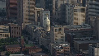 AX73_104 - 5K stock footage aerial video of Baltimore City Hall in Maryland