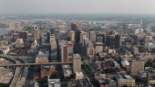 AX73_105 - 5K stock footage aerial video of a view of Downtown Baltimore skyscrapers in Maryland