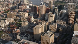 AX73_108 - 5K stock footage aerial video flying Baltimore City Hall in Downtown Baltimore, Maryland