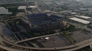 AX73_111 - 5K stock footage aerial video of M&T Bank Stadium in Baltimore, Maryland