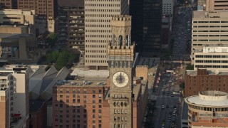 AX73_117 - 5K stock footage aerial video tilting from Emerson Tower in to reveal Transamerica Tower in Downtown Baltimore, Maryland