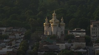 AX73_150 - 5K stock footage aerial video of St. Michael's Ukrainian Church in Baltimore, Maryland