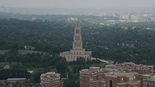 AX74_027 - 5K stock footage aerial video of The George Washington Masonic National Memorial in Alexandria, Virginia
