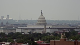 AX74_040 - 5K stock footage aerial video of the United States Capitol Building and Dome in Washington DC