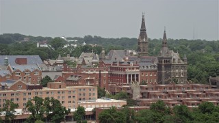 AX74_082 - 5K stock footage aerial video of Georgetown University Buildings in Washington DC