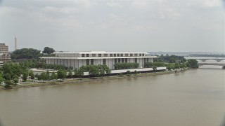 AX74_084 - 5K stock footage aerial video approaching the John F. Kennedy Center for the Performing Arts in Washington DC