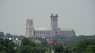 AX74_100 - 5K stock footage aerial video of the Washington National Cathedral in Washington DC