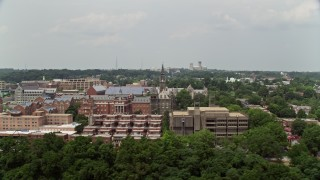 AX74_101 - 5K stock footage aerial video flying by the campus of Georgetown University in Washington DC