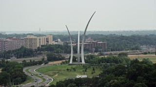 AX74_115 - 5K stock footage aerial video approaching United States Air Force Memorial at Arlington National Cemetery, Washington DC