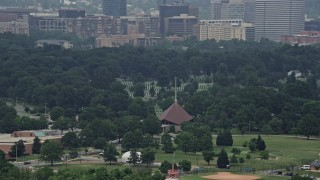 AX74_120 - 5K stock footage aerial video of graves and monuments at Arlington National Cemetery, Washington DC