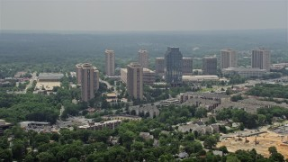 AX74_121 - 5K stock footage aerial video of apartment complexes and the Social Security Administration office building in Falls Church, Virginia