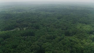AX74_141 - 5K stock footage aerial video flying over forest with a few upscale homes in Fairfax Station, Virginia
