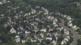 AX75_003 - 5K stock footage aerial video approaching and tilting to Suburban Homes in Manassas, Virginia