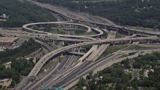 AX75_025 - 5K stock footage aerial video approaching I-495 and 395 freeway interchange in Springfield, Virginia