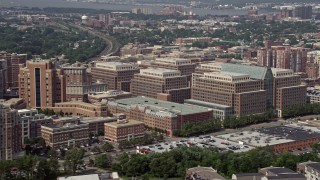 AX75_035E - 5K stock footage aerial video of government offices by United States Patent and Trademark Office in Alexandria, Virginia