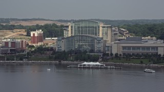 AX75_040 - 5K stock footage aerial video approaching Gaylord National Resort & Convention Center in National Harbor, Maryland