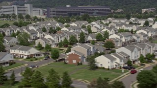 AX75_048 - 5K stock footage aerial video flying by military housing at Bolling Air Force Base in Washington DC