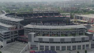 AX75_071 - 5K stock footage aerial video approaching Nationals Park Baseball Stadium in Washington DC