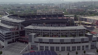 AX75_071E - 5K stock footage aerial video approaching Nationals Park Baseball Stadium in Washington DC