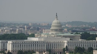 AX75_073 - 5K stock footage aerial video of the United States Capitol and Rayburn House Office Building in Washington DC