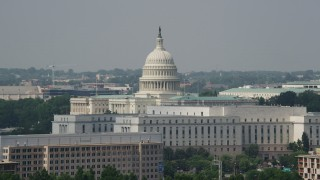 AX75_074 - 5K stock footage aerial video of the United States Capitol and Rayburn Office Building in Washington DC