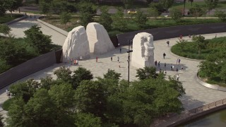 AX75_079 - 5K stock footage aerial video of tourists at the Martin Luther King Jr. National Memorial in Washington DC