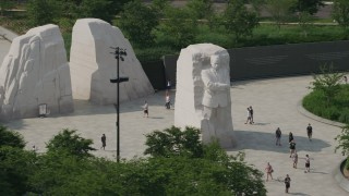 AX75_084 - 5K stock footage aerial video flying by the Martin Luther King Jr. National Memorial in Washington DC