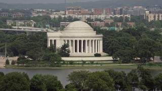 AX75_085 - 5K stock footage aerial video approaching the Jefferson Memorial in Washington DC