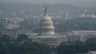 AX75_102 - 5K stock footage aerial video of the North Side of United States Capitol Building in Washington DC