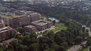 AX75_113 - 5K stock footage aerial video of the Francis-Stevens Education Campus in Washington DC