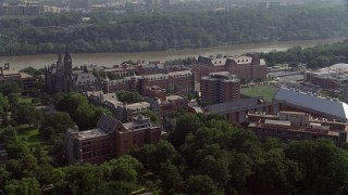 AX75_116E - 5K stock footage aerial video of Georgetown University Campus in Washington DC