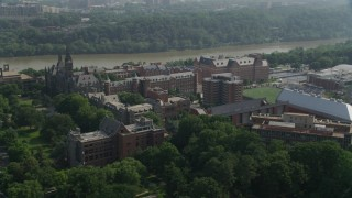 AX75_117 - 5K stock footage aerial video flying by the Georgetown University Campus in Washington DC