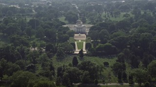 AX75_136 - 5K stock footage aerial video approaching the Tomb of the Unknown Soldier at Arlington National Cemetery, Washington DC