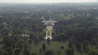 AX75_137 - 5K stock footage aerial video approaching, flying over the Tomb of the Unknown Soldier at Arlington National Cemetery in Washington DC
