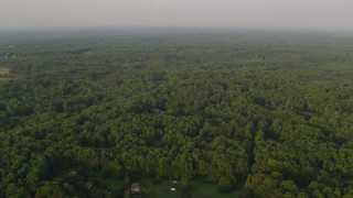 AX76_011 - 5K stock footage aerial video flying over dense green forest hiding rural homes, Clifton, Virginia, sunset