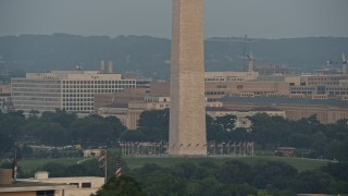 AX76_072 - 5K stock footage aerial video he base of Washington Monument in the National Mall, Washington D.C., sunset