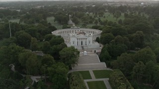 AX76_120 - 5K stock footage aerial video of the Tomb of the Unknown Soldier, Arlington National Cemetery, Arlington, Virginia, twilight