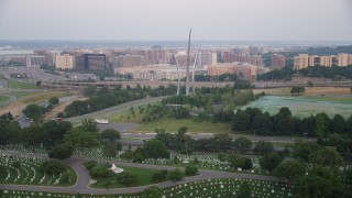 AX76_121 - 5K stock footage aerial video of United States Air Force Memorial, Arlington National Cemetery, Arlington, Virginia, twilight