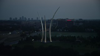 AX76_187 - 5K stock footage aerial video orbiting the United States Air Force Memorial, Arlington, Virginia, twilight