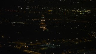 AX77_007 - 5K stock footage aerial video of the George Washington Masonic National Memorial, Alexandria, Virginia, night